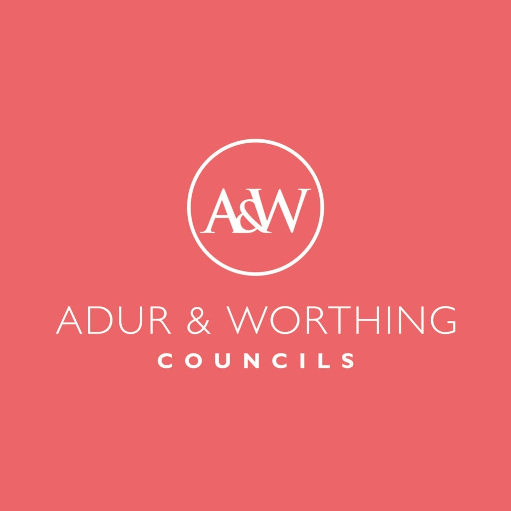 Adur & Worthing Council Logo salmon background