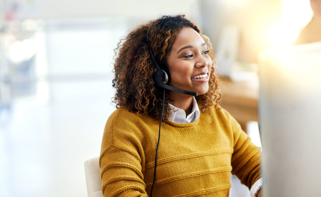 lady in call centre with phone headset