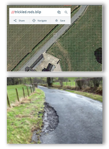 pot hole location for highways management system
